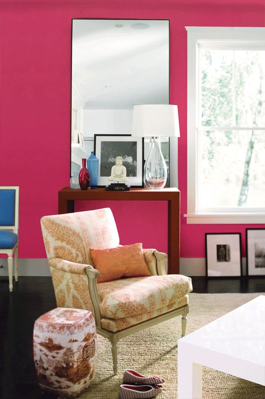 Benjamin Moore Peony. Color of my home office. Hoping this inspires me to actually ste up my office.