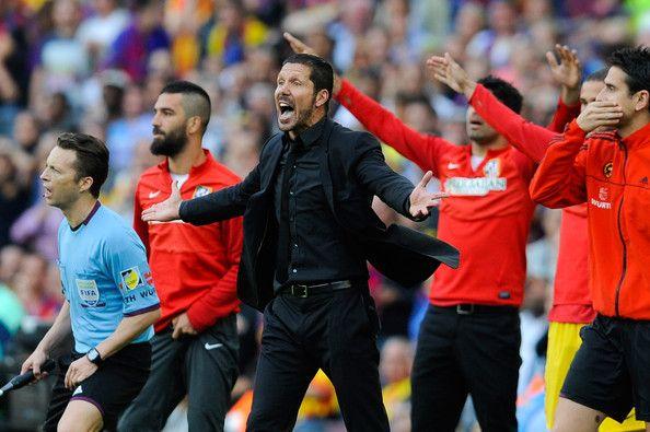 Head coach Diego Pablo Simeone of Atletico de Madrid reacts during the La Liga match between FC Barcelona and Club Atletico de Madrid at Camp Nou on May 17, 2014 in Barcelona, Catalonia. Atletico de Madrid won the Spanish league La Liga.