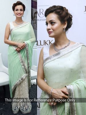 Thankar Light Green & Off White Multy Work Georgette & Net Half And Half Bollywood Designer Saree Bollywood Sarees
