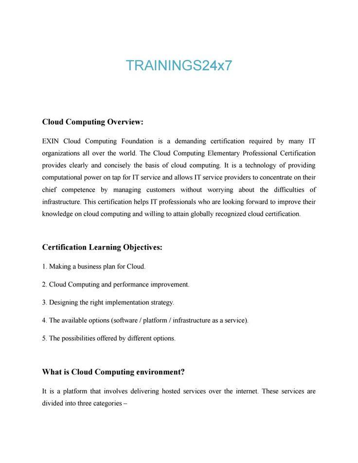 Cloud Computing Course Content