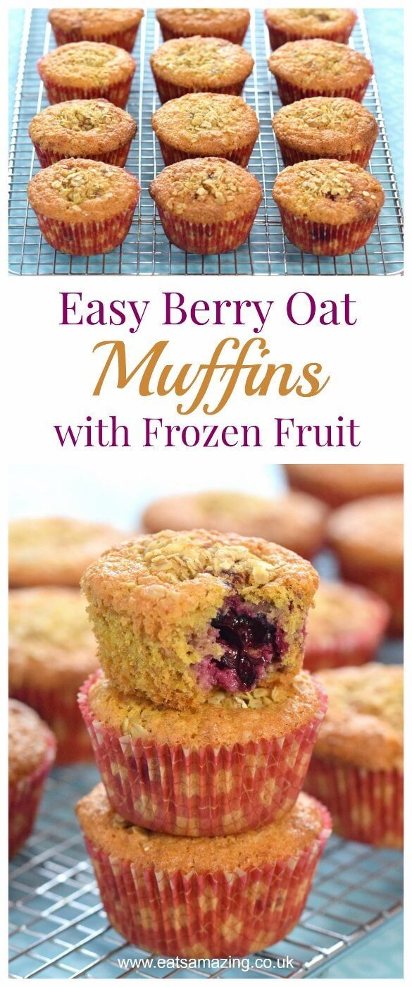 Quick and easy oat and berry muffins recipe made with frozen fruit straight from the freezer - Eats Amazing UK