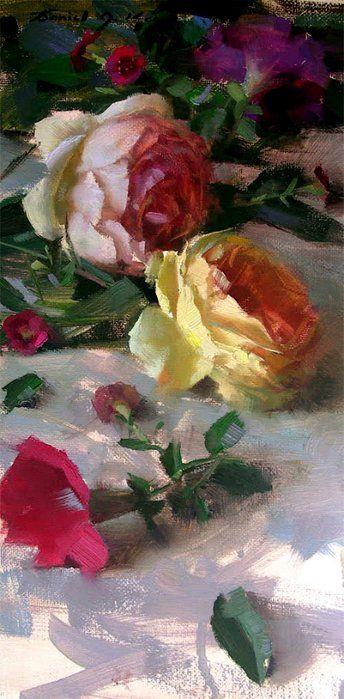 Roses// by Daniel J. Keys #art #Oil Painting #Flowers