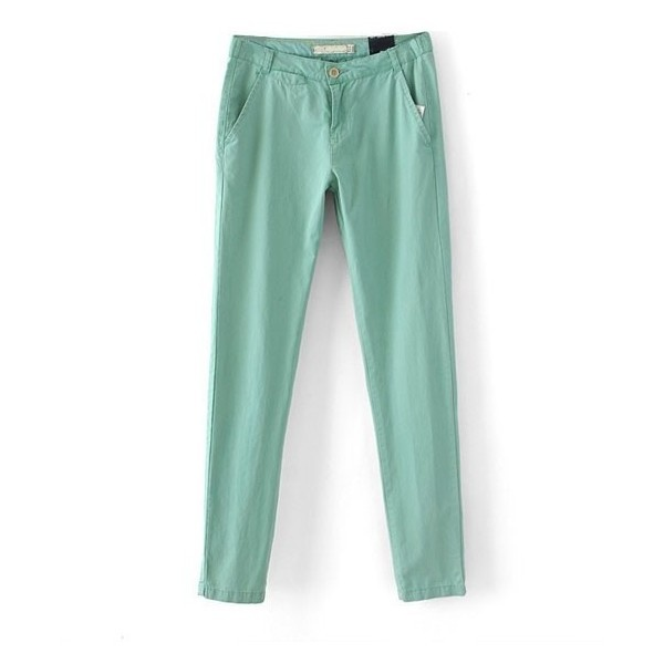 Mint Green Cotton Pants with Rolled Cuffs ($33) ❤ liked on Polyvore