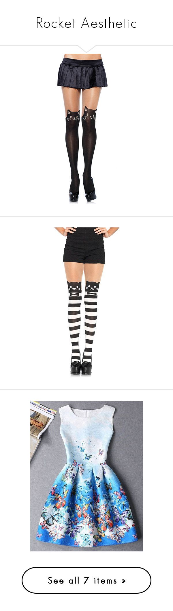 """Rocket Aesthetic"" by asriel20asi ❤ liked on Polyvore featuring intimates, hosiery, tights, black, socks & hosiery, leg avenue stockings, leg avenue pantyhose, animal print tights, leg avenue tights and leg avenue"