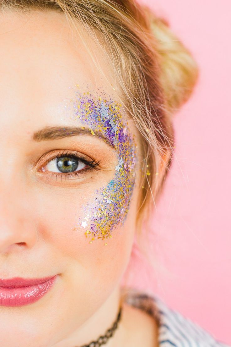 DIY you own Glitter Station at you Wedding or party. How to do glitter face makeup for a festival.