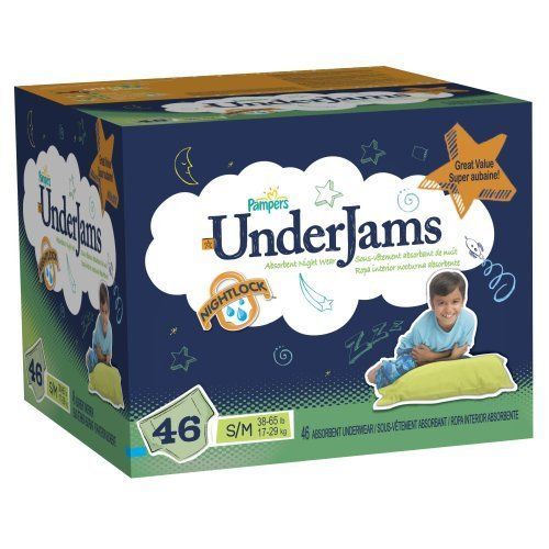 Pampers Underjams Boys Diapers Big Pack Size 7 46 Count by Pampers. $23.06. Get outstanding overnight leakage protection with UnderJams! UnderJams are the only night wear with the NightLock™ ultra-absorbent core, to help for a dry morning.