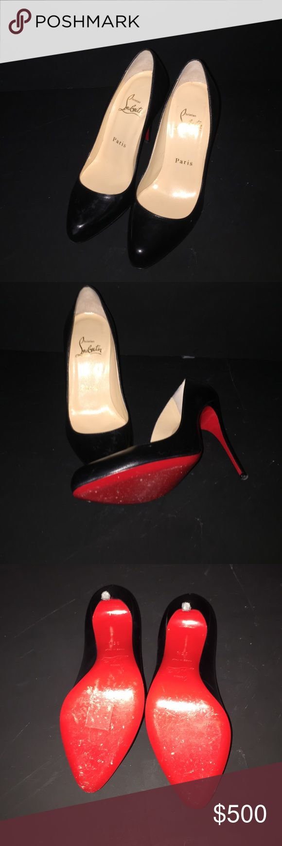 🎉Last PRICE DROP 😍😍Black LOUBS👠👠 WORN ONCE Worn once bottoms only scuffled Christian Louboutin Shoes Heels