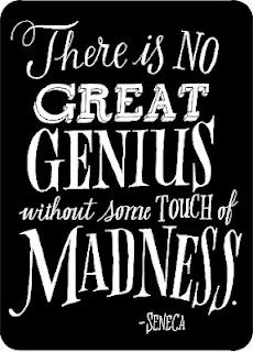 """""""There's no great genius without some touch of madness."""" Seneca #quote #seneca #genius"""