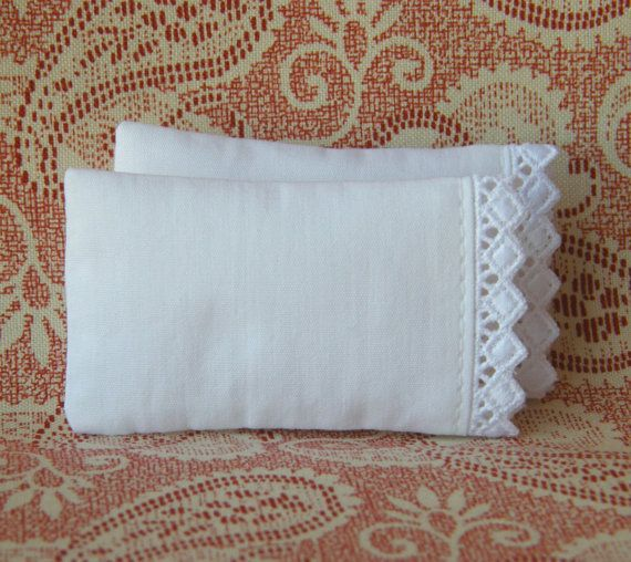 Dollhouse Miniature Set of 2 White Pillows with Diamond Lace Trim  - 1/12 scale on Etsy, $7.75