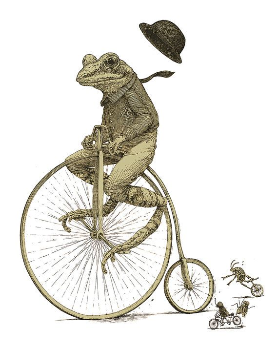 Frog on Bike T-shirt - Men's Striped Penny Farthing bike t-shirt in S M L XL 2X 3X