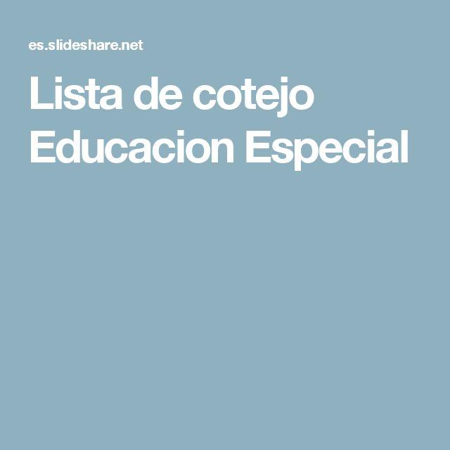 Lista de cotejo Educacion Especial