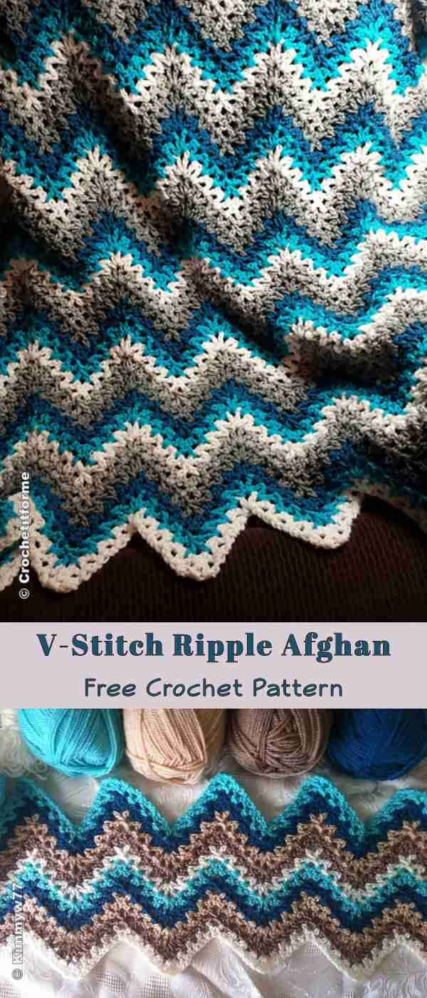V Stitch Ripple Afghan Free Crochet Pattern Loads Of Yarn