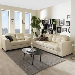 Awesome Baxton Studio Whitney Modern Ivory Faux Leather Sofa And Loveseat  Set Part 58