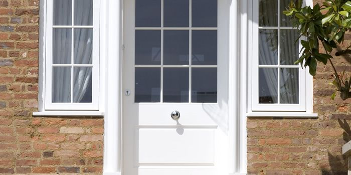 hardwood or oak glazed wooden front doors