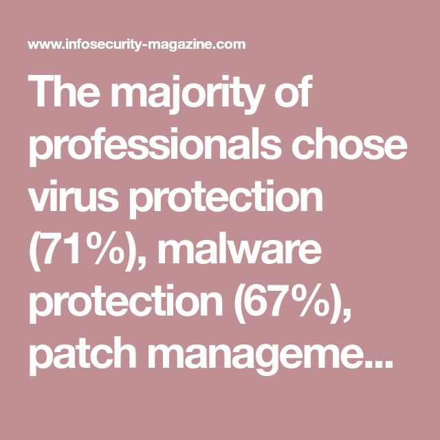The majority of professionals chose virus protection (71%), malware protection (67%), patch management (53%), and intrusion detection and prevention (IDP, 52%) as their top organizational investments in security today.