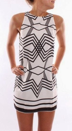 Classic black and white geo dress