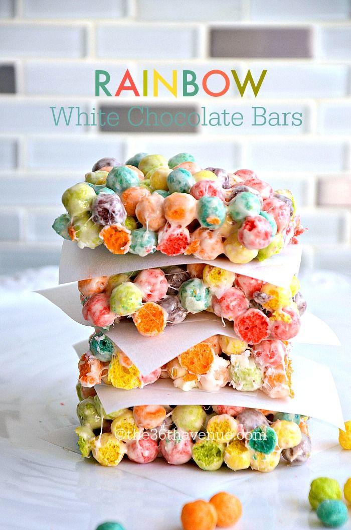 Rainbow White Chocolate Bars Recipe at the36thavenue.com