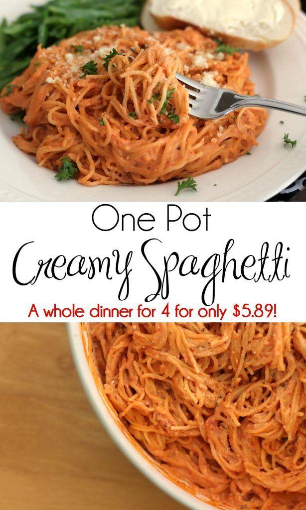 One Pot Creamy Spaghetti Recipe Creamy Spaghetti Thrifty Meals Spaghetti Recipes