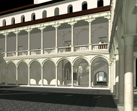 Reconstrucción virtual del Patio de la Reina del Alcázar de Madrid en el siglo XVI
