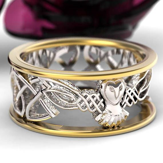 Celtic Wedding Ring Set His And Her Gold Owl Rings 2 Tone Etsy Owl Wedding Ring Celtic Wedding Ring Sets Celtic Wedding Rings