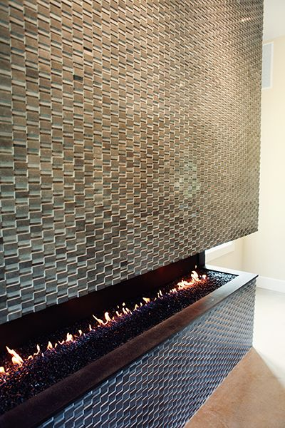 That fireplace!  From Prairie Hive Magazine, Fall Issue - Modern Warmth #tile #mosaic #fireplace