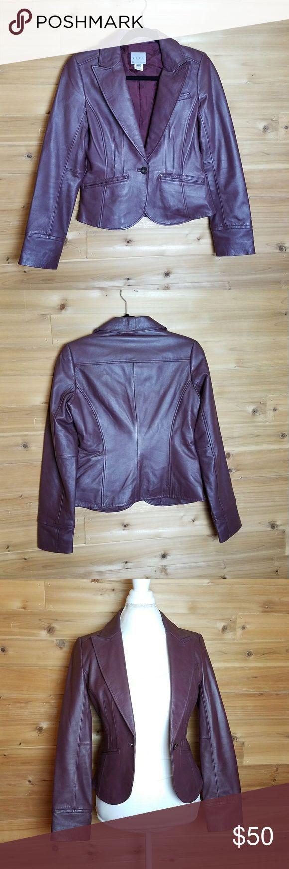 "Philipe Adec ADEC2 Purple Leather Jacket, size 2 - Armpit to Armpit: 17"" - Armpit to Hem: 12""  - Shoulder to Hem: 19.5"" - Neck to Hem: 21""  - 100% leather Philipe Adec ADEC2 Jackets & Coats"