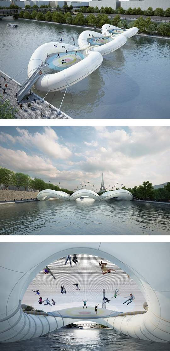 Awesome inflatable bridge in Paris, France (this looks totally fake, but would be AWESOME)