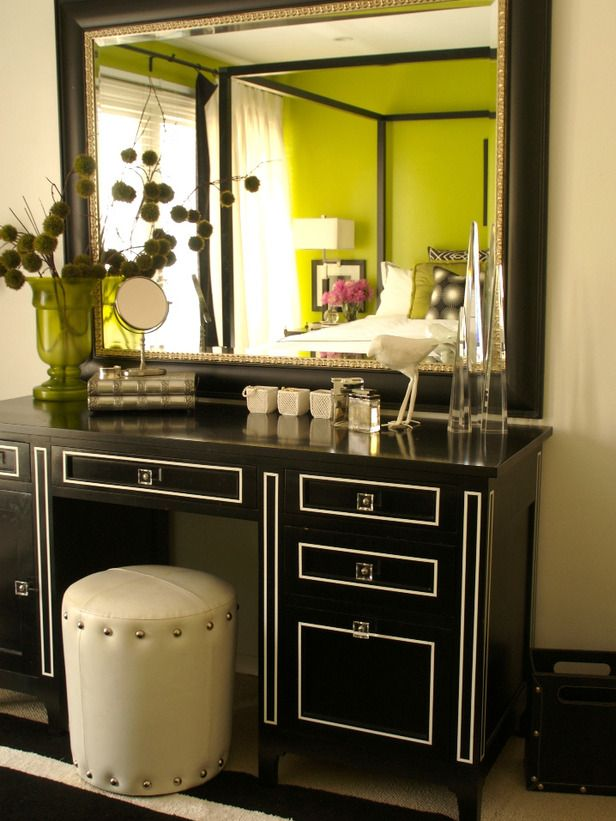 black and white vanity in green bedroom on hgtv home 14446 | b1615b8f569a1c6e5a024737cdd30741