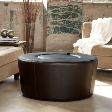 fun round coffee table with hidden storage