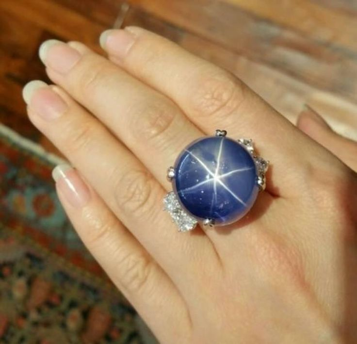 101.55 Carat GIA Cert Unheated Ceylon Star Sapphire Diamond Platinum Ring 2