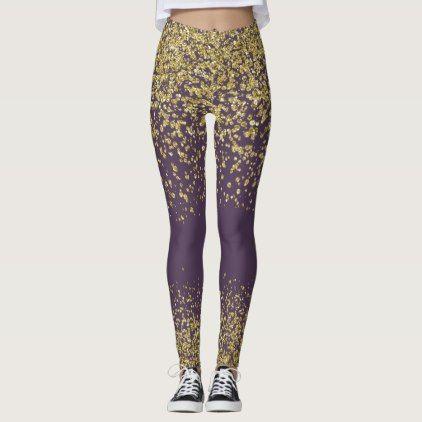 Plum & Gold Shiny Leggings - glitter glamour brilliance sparkle design idea diy elegant