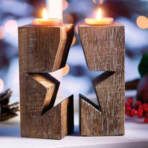 Teelichthalter-Set Stern, 2-tlg., Holz, ca. B6xH15 cm Vorderansicht