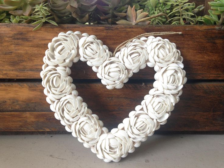 Handcrafted Shell Heart Boho Hamptons Wall Hanging by Avoka on Etsy