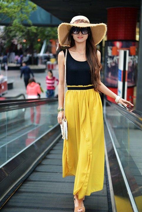 So love this! <3 2013 high waist bohemian long beach/casual dress with chiffon fabric.  #bohemian #long dress #casual