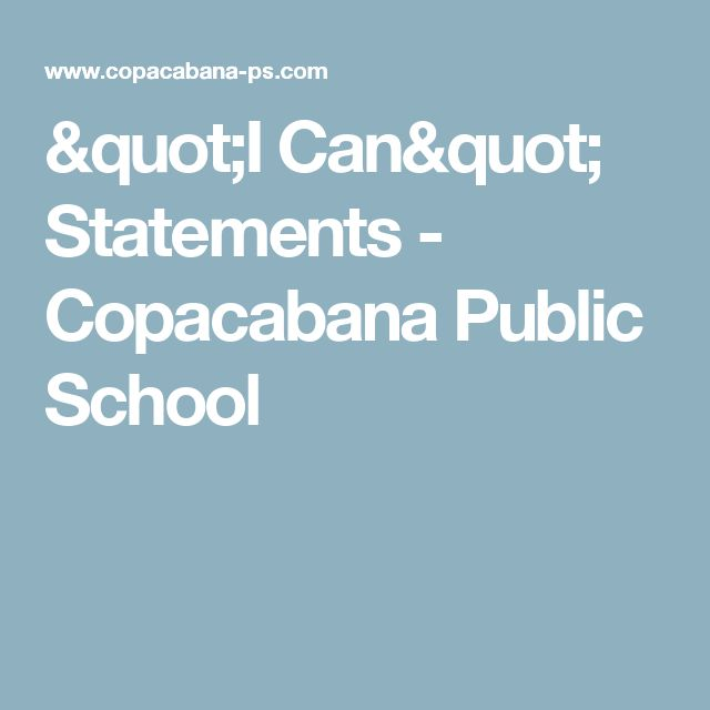 """I Can"" Statements - Copacabana Public School"