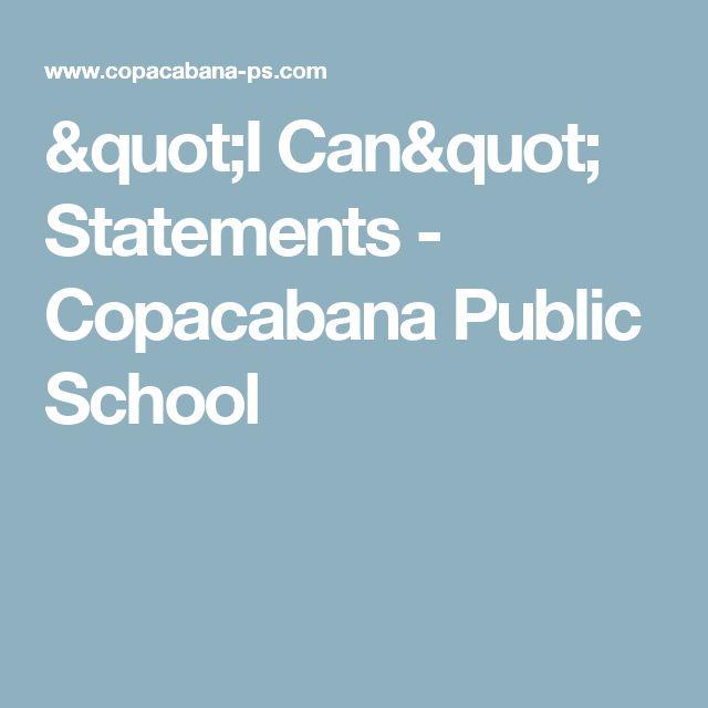 """""""I Can"""" Statements - Copacabana Public School"""