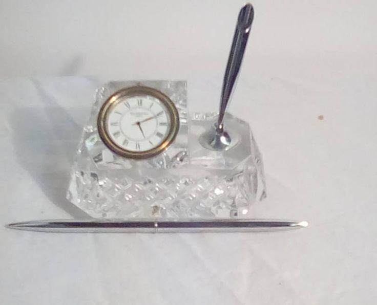 Vintage Waterford Crystal Desk Clock With Pen By Bullwinklesattic On Etsy Waterford Crystal Desk Clock Clock