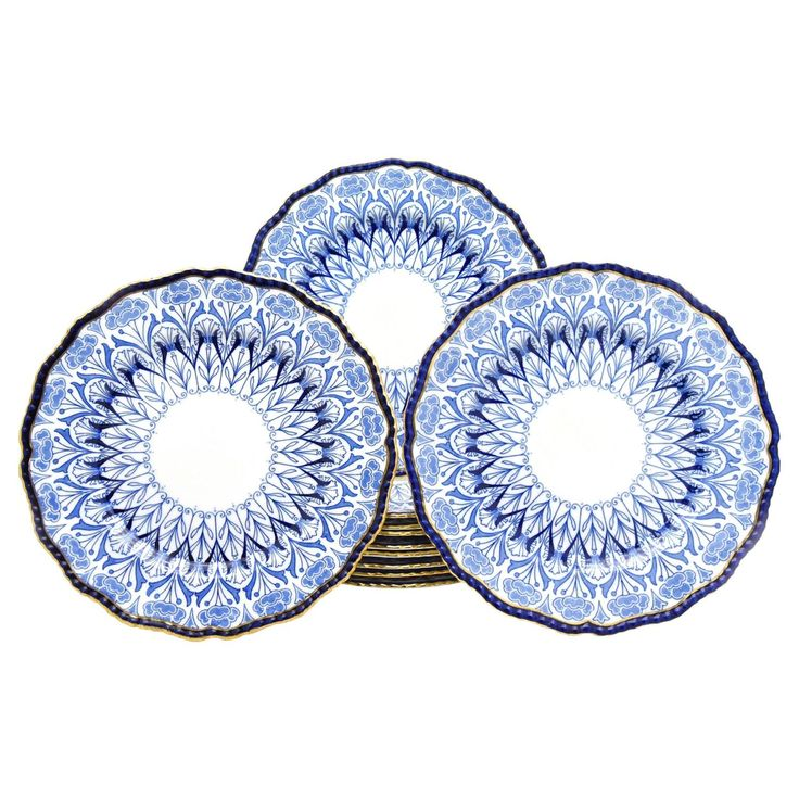 Set 11 Doulton 19th Century Aesthetic Movement Cobalt Dinner Plates with Poppies | From a unique collection of antique and modern dinner plates at https://www.1stdibs.com/furniture/dining-entertaining/dinner-plates/