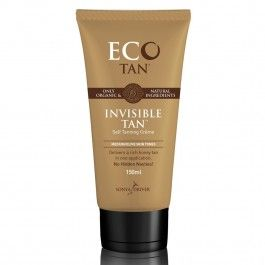 Eco Tan Invisible Tan. Get a safe tan with this one-application all natural, toxin-free, tanning lotion with 77% Certified Organic ingredients. Apply before bed & wake up with a gorgeous honey glow. Based on cocoa with no fake orange tones. Won't stain your clothes or bedding. Your skin is beautifully tanned and nourished.
