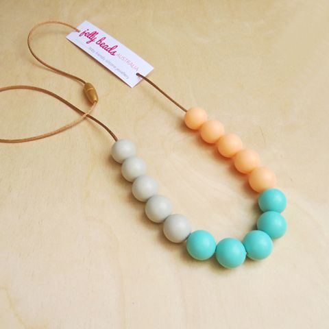 Spring Colours - baby friendly silicone beaded necklace: Stone, Aqua & Peach