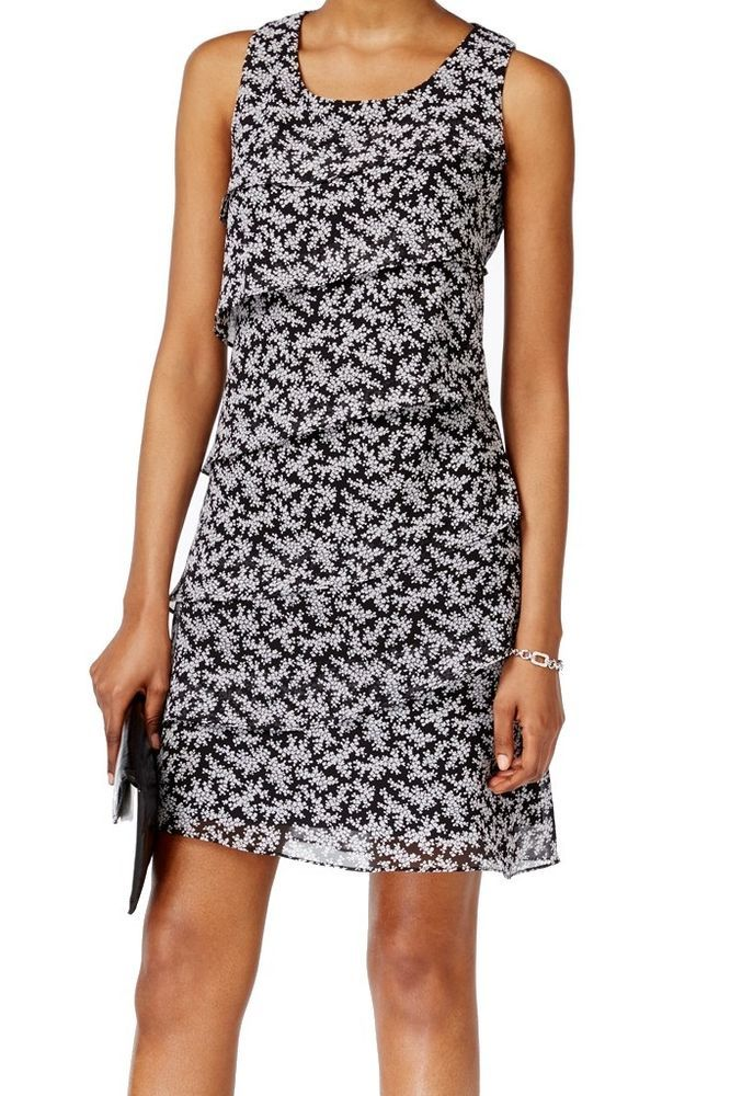Jessica Howard NEW Black Womens Size 10P Petite Floral Tiered Dress $79 083 #JessicaHoward #Tiered #Cocktail
