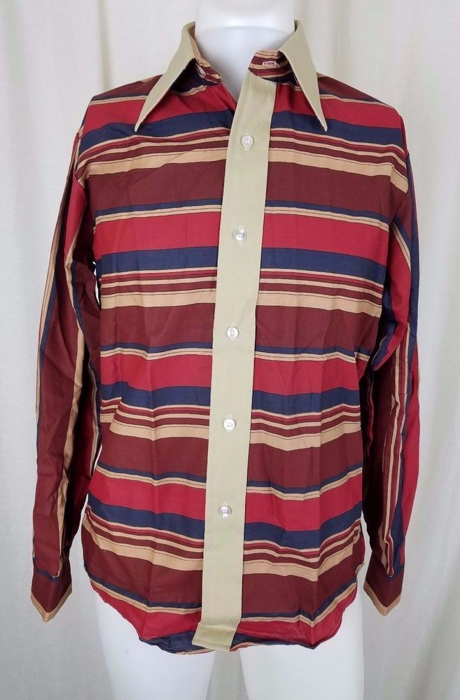 NOS 60s Andre Alain Horizontal Striped Contrast Long Sleeve ROCKABILLY Mens M #AndreAlain #ButtonFront #Casual