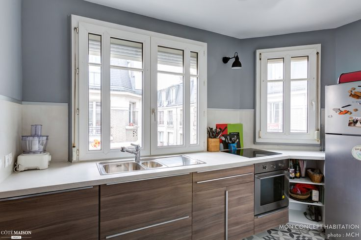 Une cuisine de 13 m2 à Vincennes avec meuble standard Ikea