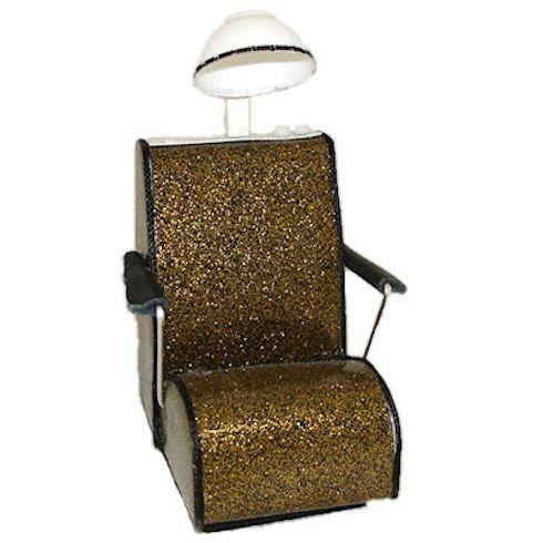 DOLLHOUSE Gold Sparkle Beauty Salon Hair Dryer Chair 1:12 Dollhouse Miniatures