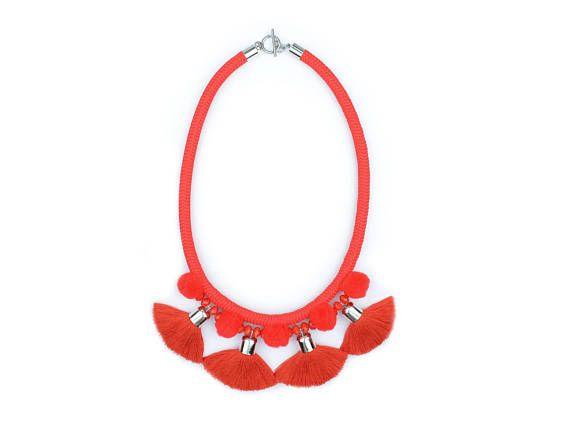 Red Rope Necklace. Statement Tassel Necklace. Pom pom Necklace. by casseljewelry #fashion #handmadejewelry #handmade #jewelry #unique #design #casseljewelry #fashionjewelry #jewelrydesign #etsy #ShopEtsy #EtsyFinds #EtsyForAll
