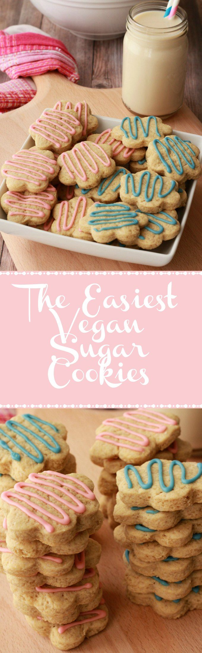 Super easy vegan sugar cookies. Perfect for any occasion! vegan | vegan dessert | vegan cookies | vegan food | Vegan recipes