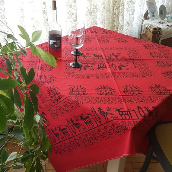 Check out this item in my Etsy shop https://www.etsy.com/listing/456080992/tablecloth-red-anatolia-hittite-motifs