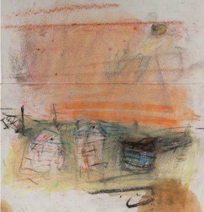 "Joan Eardley and her pastel landscapes: Joan Eardley, ""Beehives, Catterline,"" n.d., pastel, 8 1/4 x 7 7/8 in, The Scottish Gallery, Edinburgh"