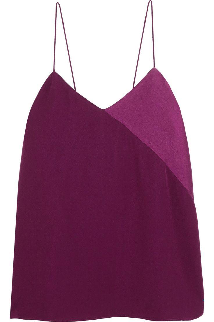 Tibi Satin-paneled silk-crepe camisole