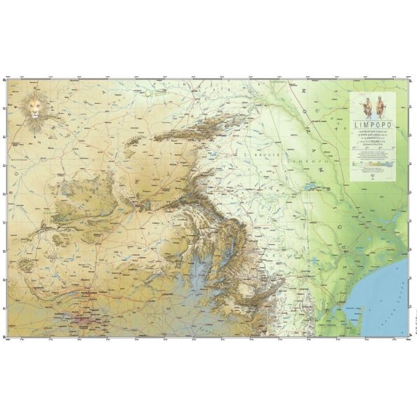 Map showing part of South Africa: the great, grey-green greasy Limpopo River - source to mouth, Gauteng to Mozambique